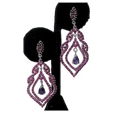 Rubies & Amethyst Stones In 925 Sterling Silver Earrings