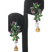 Garnet Citrine & Chrome Diopside In 925 Sterling Silver Floral Drop Earrings