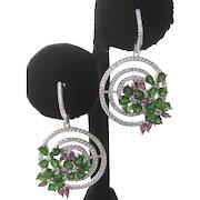 Garnets & Chrome Diopside Floral Design 925 Sterling Silver Earrings