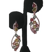 Multi Color Sapphires Rose Gold Plate 925 Sterling Silver Drop Earrings