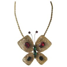 Hattie Carnegie Rare Huge Filigree Butterfly & Glass Stones Necklace