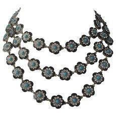 OSCAR DE LA RENTA 3 Strand Enamel Rhinestones & Turquoise Bead Large Bib Necklace