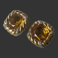 VOGUE BIJOIX Beautiful Citrine Glass & Rhinestones Vintage Earrings