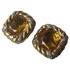 VOGUE BIJOIX Beautiful Citrine Glass & Rhinestones Vintage Earrings