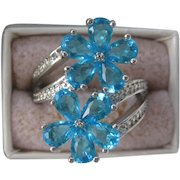 Blue Topaz Flowers & 925 Sterling Silver Ring Size 8