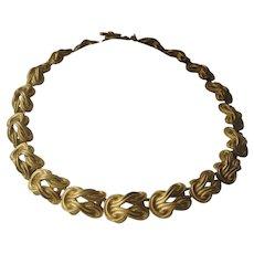 ANNE KLEIN Beautiful Vintage Matt Gold Tone Ornate Necklace
