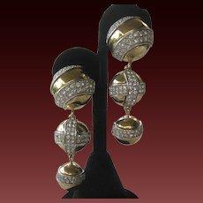 GIVENCHY Vintage Shoulder Duster Gold & Rhinestones Earrings