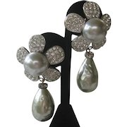 ESCADA Vintage Large Baroque Glass Pearl Drop With Top Large Rhinestone Flower Earrings