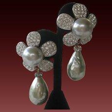ESCADA Vintage Large Baroque Glass Pearl Drop With Top Large Rhinestone Flower Earrings