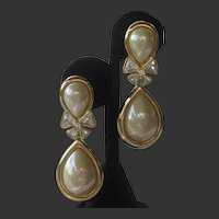 CHR. DIOR Pearl & Rhinestones Vintage Earrings