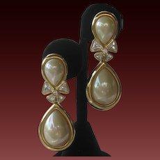 CHR. DIOR Pearl & Rhinestones Vintage Earrings