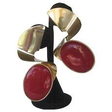 Designer Large Vintage Moderne Red & Gold Tone Earrings