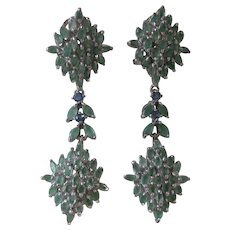 Genuine Emeralds & Sapphires Set In 925 Sterling Silver Dangling Earrings