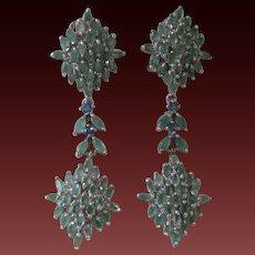 Genuine Emeralds & Sapphires Set In 925 Sterling Silver Dangling Earrings