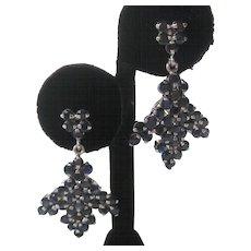 Genuine Sapphires Dangling Clusters 925 Sterling Silver Earrings