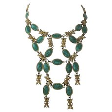 Gorgeous French Marbled Green Stones Large Bib Necklace