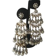 MIRIAM HASKELL Pearls & Rhinestones Huge Chandelier Earrings
