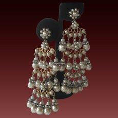MIRIAM HASKELL Pearls & Rhinestones Huge Chandelier Earrings