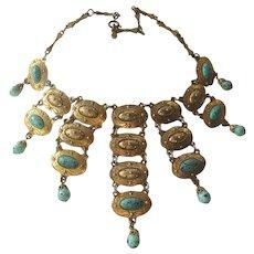 DLH DEPOSE French Turquoise & Goldtone Huge Egyptian Revival Vintage Bib Necklace
