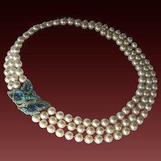 TRIFARI Rare 'L'Orient' Turquoise & Dark Blue Stones Large 3 strand Pearls Necklace