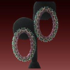 Genuine Rubies & Emeralds Large Gorgeous Earrings