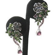 Sapphires, Garnets & Chrome Diopside 925 Sterling Silver Floral Drop Earrings