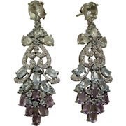 Genuine Amethysts & Blue Topaz Stones In 925 Sterling Silver Earrings