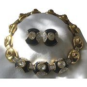 CHR. DIOR Enamel & Glass Choker Necklace & Earrings Vintage Set