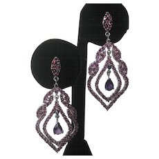 Garnets Amethysts & Sapphire Set In 925 Sterling Silver Large Earrings
