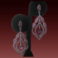 Garnets Amethysts & Sapphire Set In 925 Sterling Silver Large Earrings