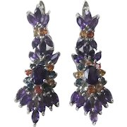 Amethysts & Sapphires Set In 925 Sterling Silver Earrings