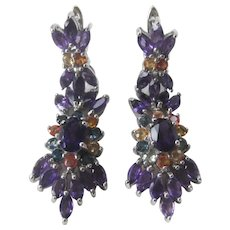 Amethysts & Sapphires Set In 925 Sterling Silver Earrings