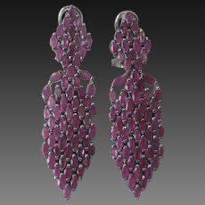 Marquise Cut Rubies In 925 Sterling Silver Large Chandelier Earrings