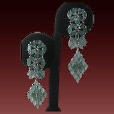 Genuine Columbian Emeralds In 925 Sterling Silver Hanging Earrings