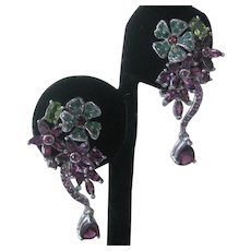 Rhodolite Garnets  Emeralds & Peridot Stones In 925 Sterling Silver Earrings