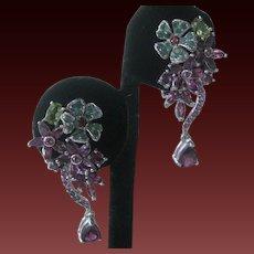 Rhodolite Garnets  Emeralds & Peridot Stones In 925 Sterling Silver Earrings