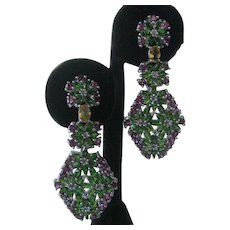 Citrines Garnets & Chrome Diopside Stones 925 Sterling Silver Earrings