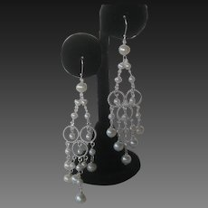 Real Baroque 4mm Creamy White Pearls In 925 Sterling Silver Chandelier Earrings Boho Chic
