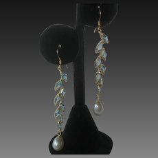 Real Blue Topaz Stones & Pearls 14 kt Gold Plate Over 925 Sterling Silver Shoulder Duster Earrings