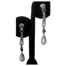 Real Sapphires & Pearls Set In 925 Sterling Silver Art Deco Design Earrings