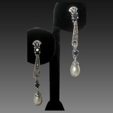 Real Sapphires & Pearls Set In 925 Sterling Silver Art Deco Design Earrings