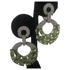 Natural Green Peridot Stones In 925 Sterling Silver hoops Earrings
