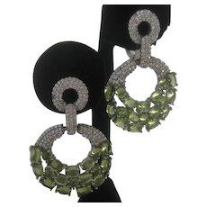 Natural Green Peridot Stones In 925 Sterling Silver hoops Earrings