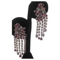 Real Rhodolite Garnets & Emeralds Set In 925 Sterling Silver Dangling Flower Earrings