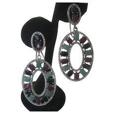 Emeralds Rubies & Sapphires Set In 925 Sterling Silver Earrings