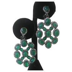 Green Agate In 925 Sterling Silver Chandelier Earrings