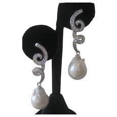 Fresh Water Baroque Pearls Set In 925 Sterling Silver Dangling Earrings