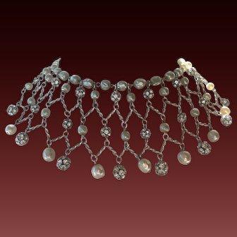 French Baroque Glass Pearls & Rhinestone Balls Vintage Bib Necklace