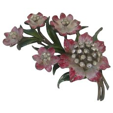 Beautiful Enamel & Rhinestones 1940s Floral Pin Brooch
