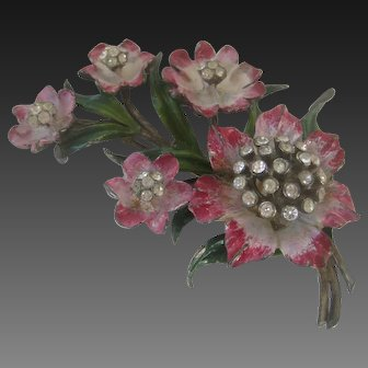 Beautiful Enamel & Rhinestones 1940s Floral Pin Brooch